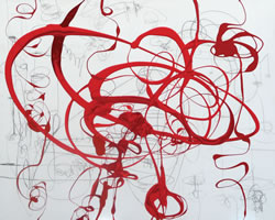 "Serena Bocchino - <i>100 degree Fever Dizzy</i>, 2012, enamel paint with graphite on canvas, 52"" x 65"""