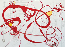 "Serena Bocchino - <i>Gimme Fever</i>, 2012, enamel paint and graphite with gold and silver leaf on canvas, 52"" x 72"""