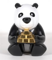 "Huang Poren - Panda Makes the Rules, 2010, hand painted cast metal, 9""x 14 ""x 11"""