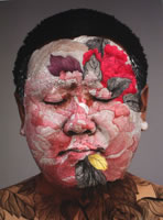 "Huang Yan - Self Portrait, 2008, mixed media with pochoir, image size: 40"" x 31"", frame size: 37"" x 45"", edition of 200"