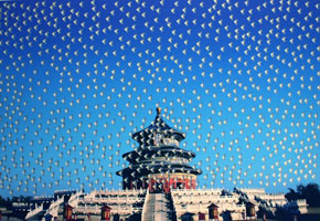 "Huang Yan - Temple of Heaven, archival inkjet print withsilkscreen, image size: 34 1/2""x 47"", frame size: 38"" x 50 3/4"", edition of 200"