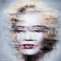 Jin Bo - Marilyn  Superposee, 2007, oil on canvas, signed in Pinyin, 39.4 x 39.4 inches