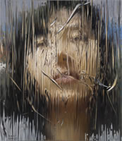 Liu Baomin - Young Woman #3, 2010, oil on canvas, frame size 47 x 39 1/4 inches, image size 43 1/2 x 35 1/2 inches