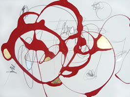 "Serena Bocchino - <i>Untitled 0016 Fever</i>, 2012, enamel paint,graphitegold leaf on watercolor paper, 18"" x 24"""