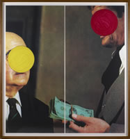 "John Baldessari, Money With Space Between, 1994, lithograph with silkscreen in two panels, 48"" x 22"" each, edition# 42/44"