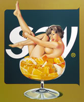 "Mel Ramos, Miss Fruit Salad, 1990, screenprint in colors on black wove paper, signed in white crayon, 51"" x 44"", edition of 69"