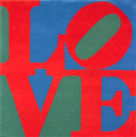 "Robert Indiana, Love Tapestry, 1995, tapestries, hand-tufted and hand-carved, skein dyed, New Zealand wool on stretched canvas with natural latex backing, signed on verso label, 72"" x 72"", edition of 150"