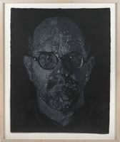 Chuck Close, Self Portrait, 2000, pulp and pochoir on hand made paper, 24.75 x 19.25 inches, frame size-28.5 x 23.25 inches, AP 4/10