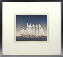 Jean Michel Folon, La Hune, etching, aquatint, 10 x 11 inches, frame size-18.75 x 20 inches, #72/75