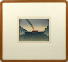 Jean Michel Folon, Le Voyage, etching, aquatint, 9.5 x 11.5 inches, frame size-21.5 x 21.5 inches, #75/90