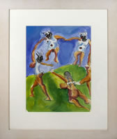 Jeffrey Spencer Hargrave, Dancing Darkies, pen, gouache and watercolor on paper, 16 x 11.5 inches, frame size-25.5 x 21 inches