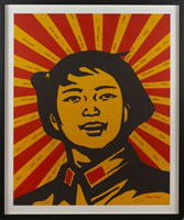 Wang Guangyi, Face of the Believer, 2003, 31.5 x 25.6 inches, frame size-35.75 x 29.75 inches, edition#s 123/199, 133/199