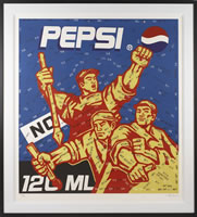 Wang Guangyi, No Pepsi-Great Criticism Series, 2002, 43.5 x 38.75 inches, frame size-54 x 48.5 inches, edition# 142/199