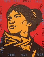 Wang Guangyi, The Belief Girl No. 5, lithograph, 19.5 x 15.5 inches, frame size-29.25 x 24.25 inches, edition# 181/199