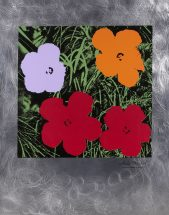 "Andy Warhol, "" Flowers"", silkscreen on etetched aluminum, stamp signed by the estate of Andy Warhol, size - 41 x 32 inches, printed and published by American Image Editions, unnumbered TP"