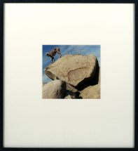 "William Wegman, Dog on Rock"", cibachrome print, framed - 18 1/2 x 16 inches, size- 6 3/4 x 6 3/4 inches"