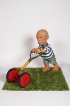 Elliott Arkin - Seedbed (Picasso Mowing), Cast aqua resin, outdoor acrylic paint, fabricated mower with wood handle, 28 x 45 x 12 inches, $40,000
