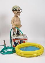 Elliott Arkin - Fountain (Warhol Watering Pool Boy), 2012, Cast resin, outdoor acrylic paint, cast aqua resin, electric water pump, rubber hose, 40 x 44 x 39 inches, $30,000