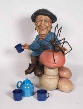Elliott Arkin - Bourgeois Having Tea With Spider, 2013, Cast aqua resin, outdoor acrylic paint, tintea set, 33 x 28 x 18 inches, $30,000